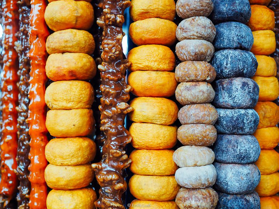 Strings of colourful fruits and nuts at the GUM Market in Yerevan.