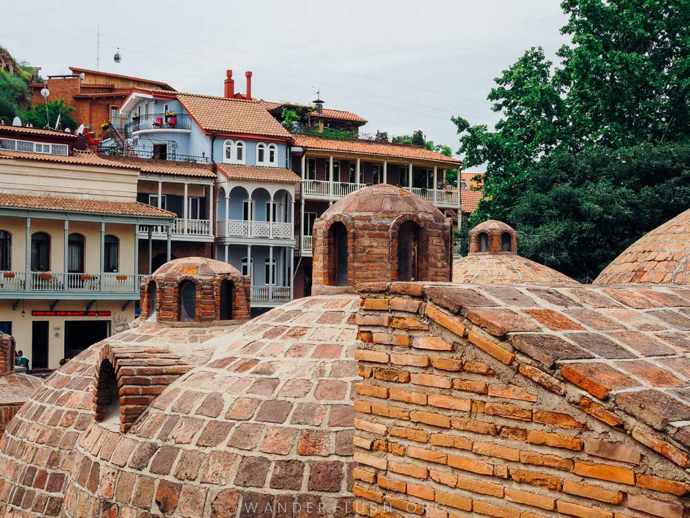 Domed brick roofs of traditional bathhouses.