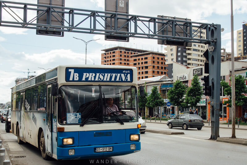 A city bus in Prishtina | Things to do in Prishtina city, Kosovo—including the best cultural attractions, designer cafes and architecture. Use this guide to plan your Kosovo travel!