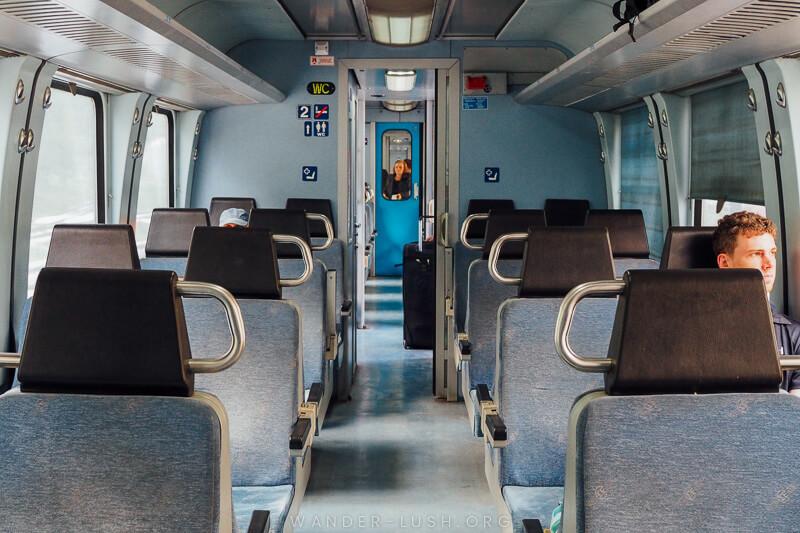 Inside a carriage on the Florina - Thessaloniki train.