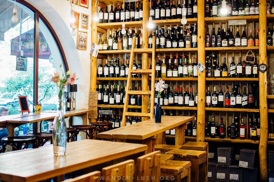 A wall of wine bottles.