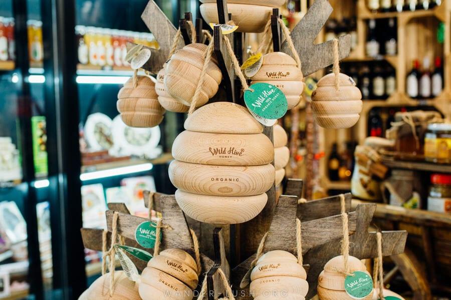 Shopping in Yerevan for Wild Hive honey.