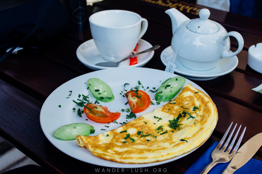 An omelette and teacup.