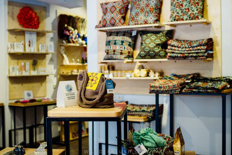 Shopping in Yerevan for fair trade products at HDIF.