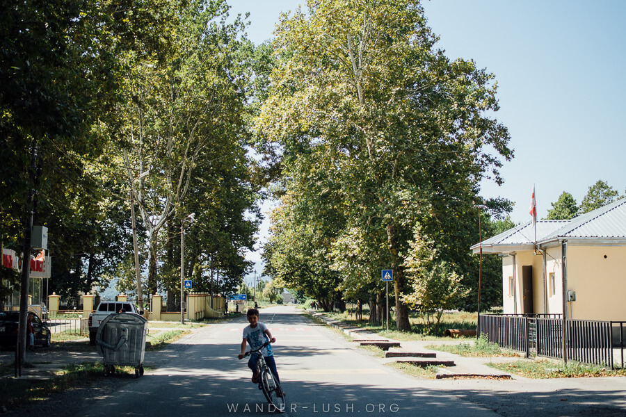 A boy rides his bicycle down a shady suburban street in Pankisi Gorge.