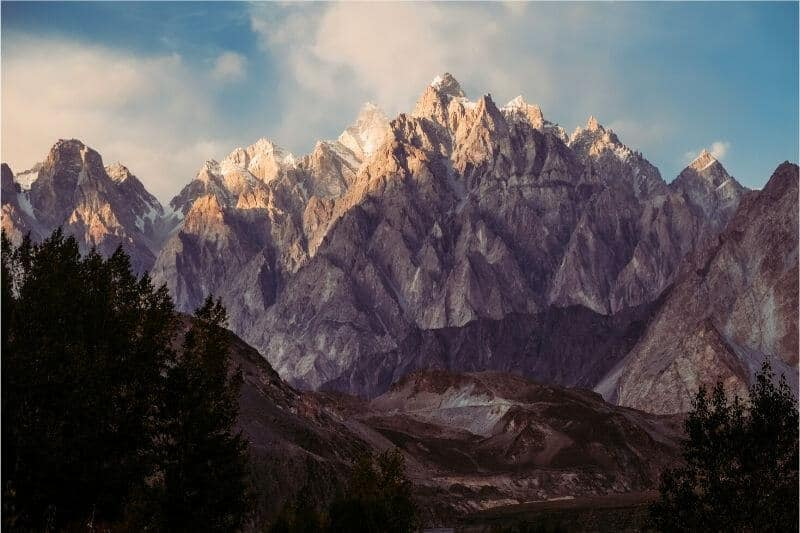 The jagged peaks of a mountain range in Pakistan.