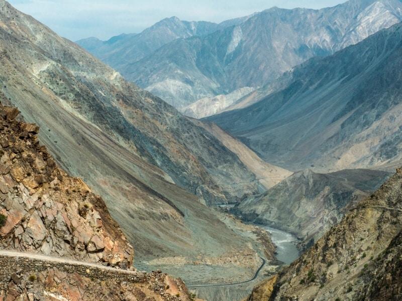 The Karakoram Highway winds its way through high peaks in Pakistan.