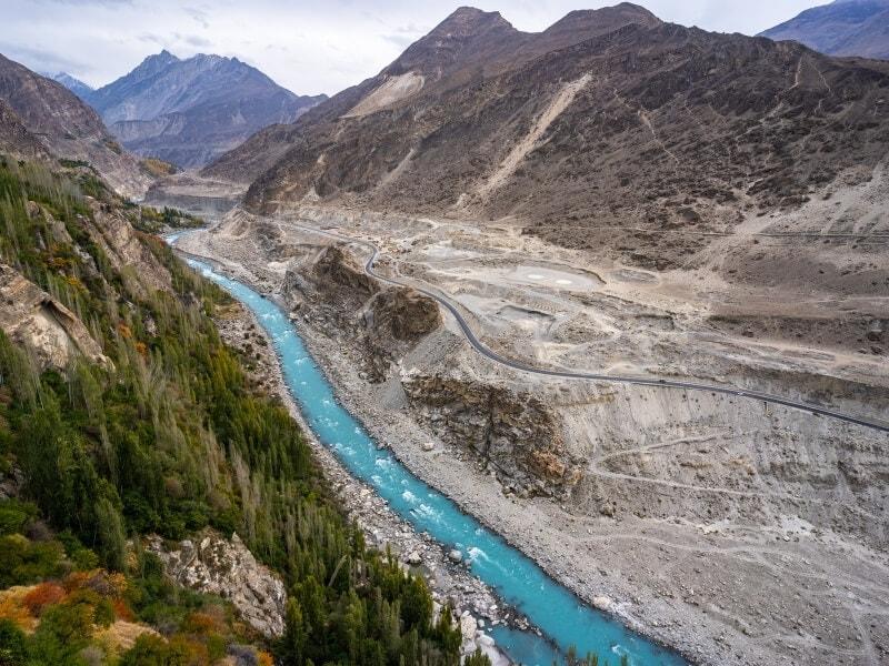 A brilliant blue river runs through Pakistan's beautiful Hunza Valley.